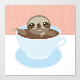 Sloth in a blue cup coffee, tea, Three-toed slot Canvas Print