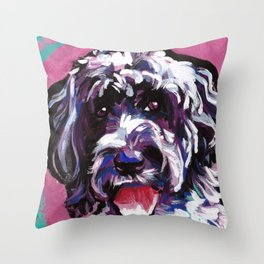 PWD Portuguese Water Dog Fun bright colorful Pop Art Dog Painting by Lea Throw Pillow