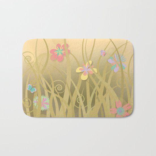 Wild Kitty Cat, Spring Blooming Flowers, Golden Beige Sky Bath Mat