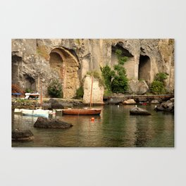 Wooden boat ancient harbor Canvas Print