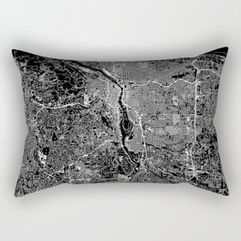 Portland Black Map Rectangular Pillow