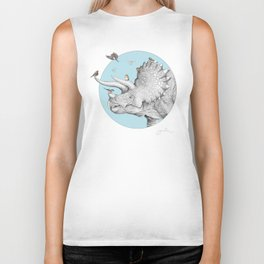 Triceratops and Birdies Biker Tank