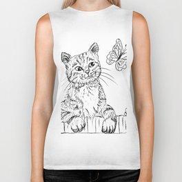 Kitty and butterfly Biker Tank