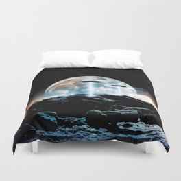 The Seeding (UFO Moon Mountain) Duvet Cover