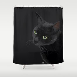 Black cat in the dark Shower Curtain