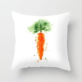 Watercolor orange carrot. Organic vegetable. Original watercolour illustration. Throw Pillow