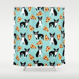 Boston Terrier pizza party cute pet portraits junk food pizza slices with boston terrier pattern  Shower Curtain