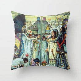 The Meeting of Monteczuma, Malinche, & Cortés 1521, Tenochtitlán by Diego Rivera Throw Pillow