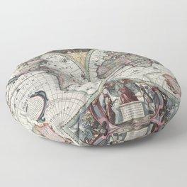 1630 Nova Totius Terrarum Orbis Tabula Map Floor Pillow