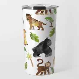 Safari Animals Pattern Watercolor Travel Mug
