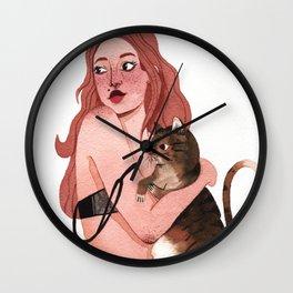 Samira with her cat Wall Clock