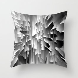 Flowers Exploding with Glitch in Black and White Throw Pillow