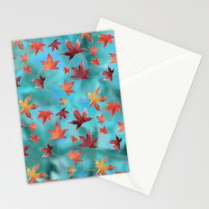 Dead Leaves over Cyan Stationery Cards