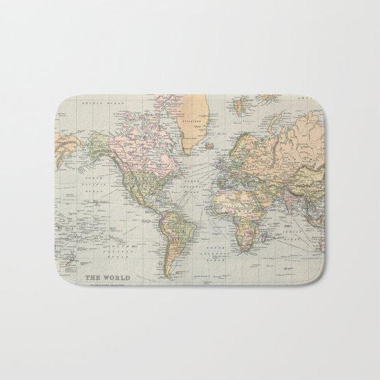 Vintage Map of The World (1892) Bath Mat