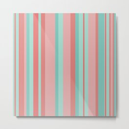 Vertical Stripes in Aqua and Coral Pink. Minimalist Striped Color Block Design in Cheerful Colors Metal Print