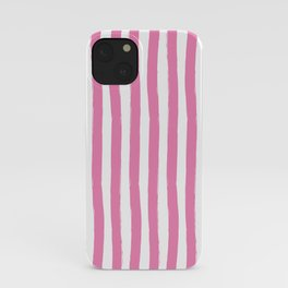 Pink and White Cabana Stripes Palm Beach Preppy iPhone Case
