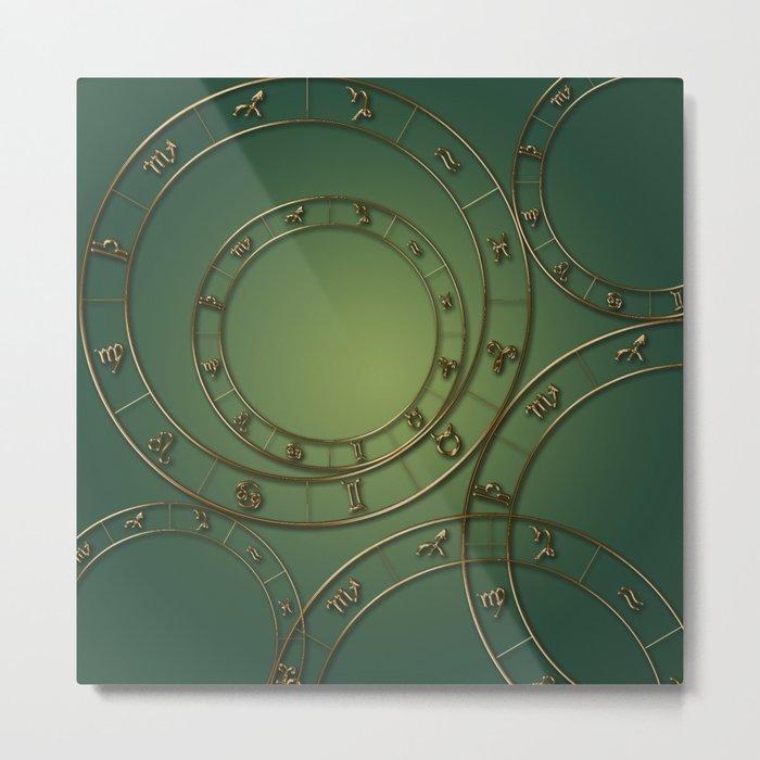 Zodiac circles and signs green Metal Print