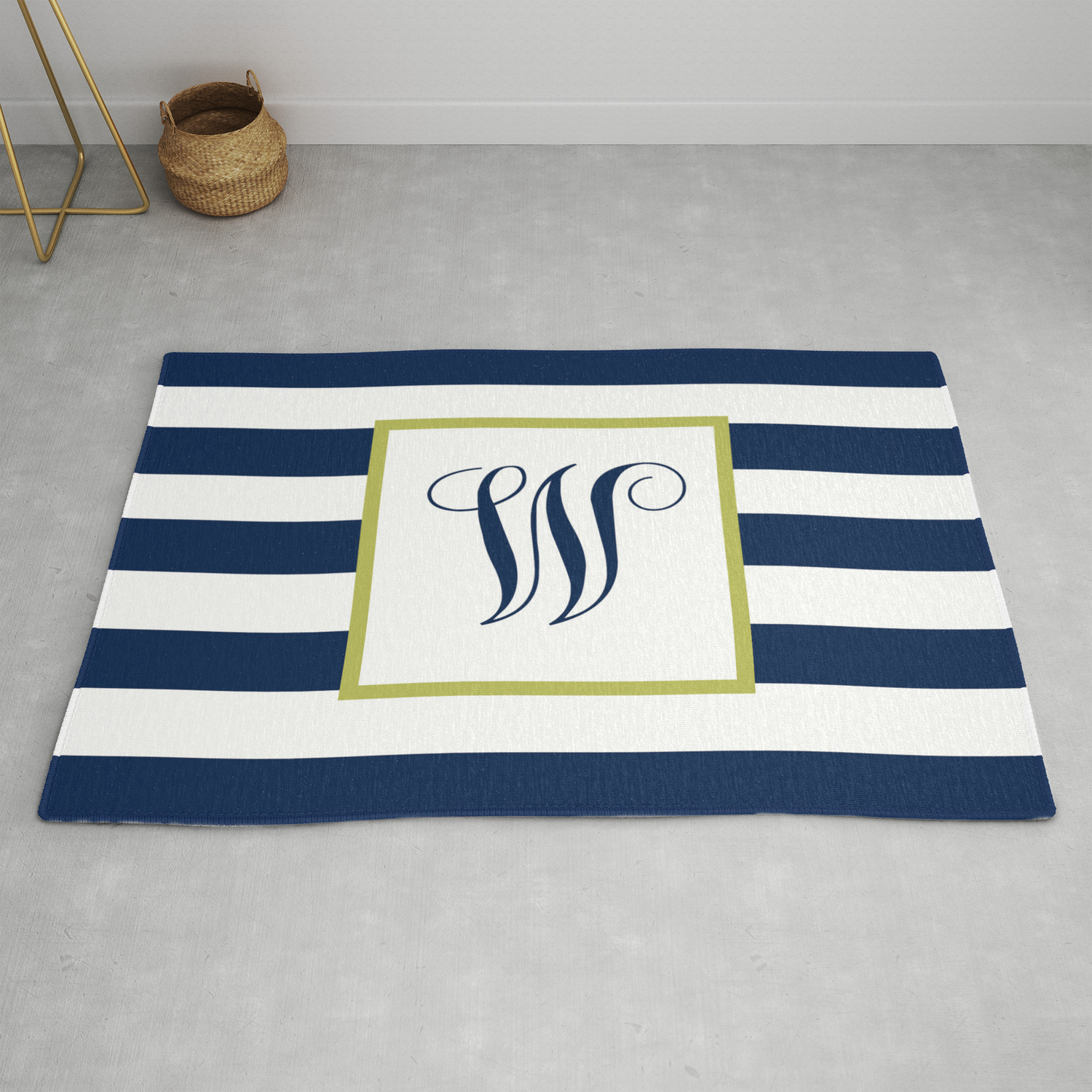 Monogram Letter W In Navy Blue And