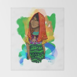 Ustup - kuna/guna girl Throw Blanket