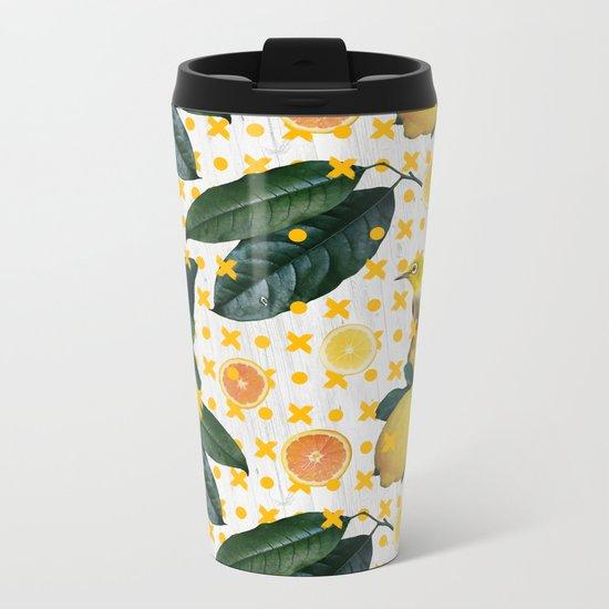 Bird & lemons yellow pattern Metal Travel Mug