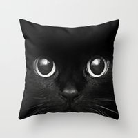 black cat Throw Pillows featuring Black Cat by Maioriz Home