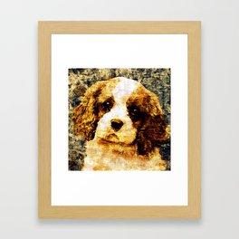 「sit」Cavalier King Charles Spaniel Framed Art Print