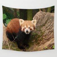 red panda Wall Tapestries featuring Red Panda by MehrFarbeimLeben