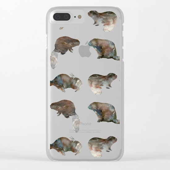 Beaver Pattern Clear iPhone Case