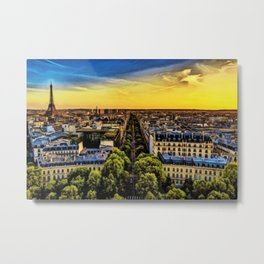 Eiffel Tower Paris City Landscape Metal Print