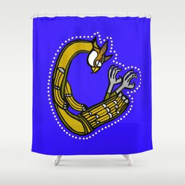 Medieval Owl letter C 2017 Shower Curtain