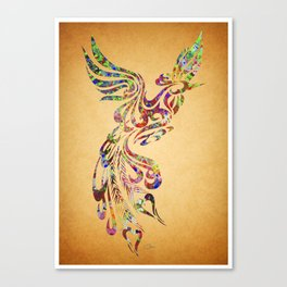 Phoenix Bird  Watercolor Art Canvas Print
