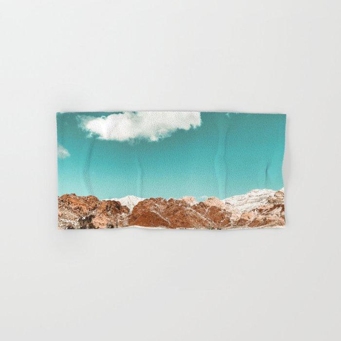 Vintage Red Rocks // Snow in the Mojave Desert Clouds Teal Sky Mountain Range Landscape Hand & Bath Towel