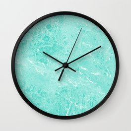 Modern turquoise white abstract marble pattern Wall Clock