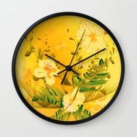matty healy Wall Clocks featuring Wonderful soft yellow flowers by nicky2342