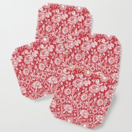 "William Morris Floral Pattern | ""Pink and Rose"" in Red and White Coaster"