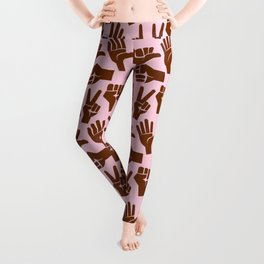Black Hand Signal Peace Rock Fight Chill Surf Stop Leggings