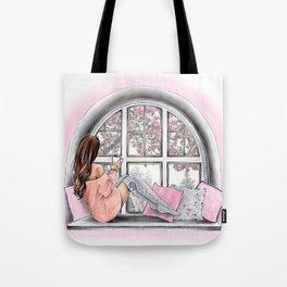 Fashion art Watercolor Winter art Girly wall art Blush pink art print Fashion poster Tote Bag