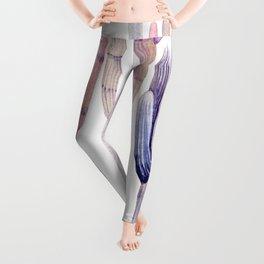 Minimalist Cactus Drawing Watercolor Painting Purple Leggings
