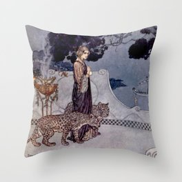 """""""Circe With Leopards"""" by Edmund Dulac Throw Pillow"""