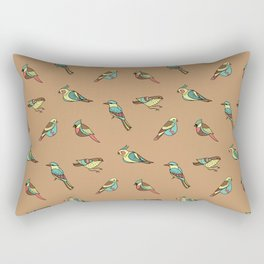 doodle birds - brown Rectangular Pillow