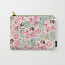 Vintage green pastel pink watercolor botanical roses Carry-All Pouch