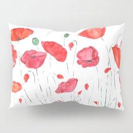 red and orange poppy field Pillow Sham