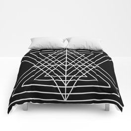 Overlapping Triangles ( Black & White) Comforters
