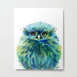 """""""Fiji"""" Baby Owl Painting ~ Garden of the Wild Series Metal Print"""