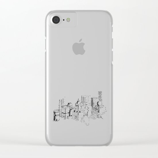cubes and balls in the city Clear iPhone Case