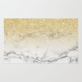 Modern faux gold glitter white marble color block Rug
