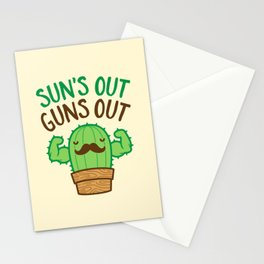 Sun's Out Guns Out Macho Cactus Stationery Cards
