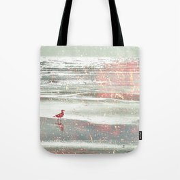 BIRDIE WALKING ON THE BEACH IN A GOLDEN PINK SUNSET Tote Bag