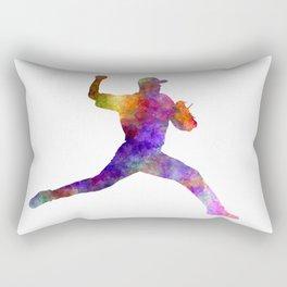 Baseball player throwing a ball Rectangular Pillow
