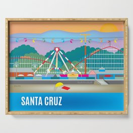 Santa Cruz, California - Skyline Illustration by Loose Petals Serving Tray